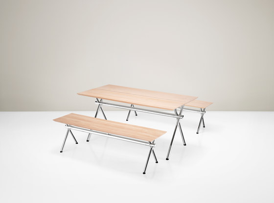 X-Table and Bench by Piiroinen