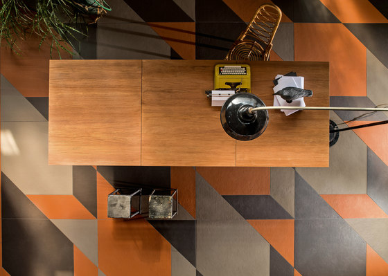 Tierras industrial frame rust by Ceramiche Mutina