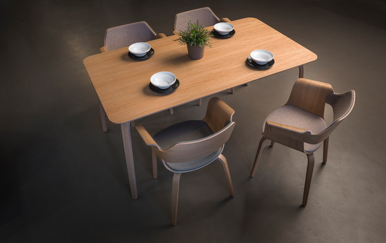 Mothership dining table walnut di PlyDesign