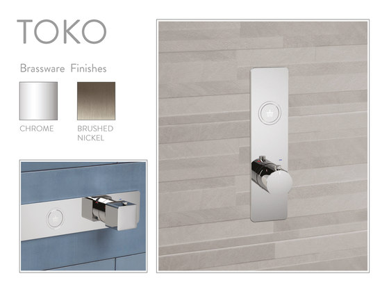 Toko | Square Horizontal 2 Outlet Thermostatic Shower Mixer by BAGNODESIGN