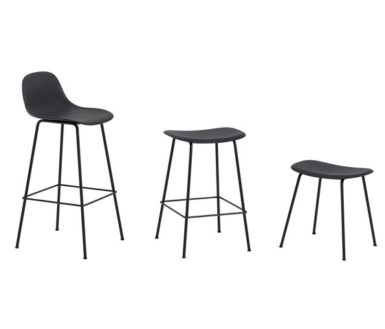 Fiber Bar Stool | tube base  - grey by Muuto