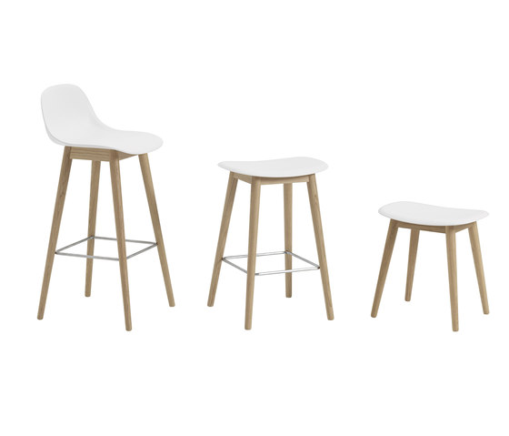 Fiber Stool | wood base  - white by Muuto