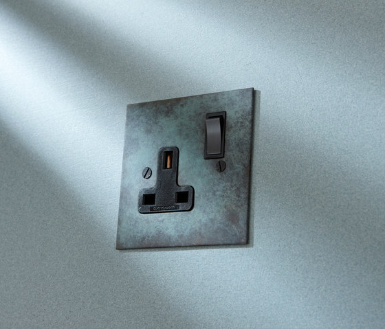 Painted double 13amp socket by Forbes & Lomax
