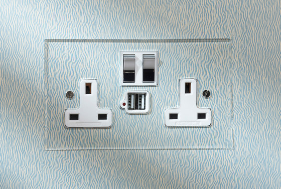 Verdigris double 13amp socket with USB by Forbes & Lomax