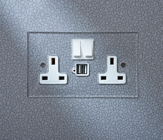Stainless Steel double 13amp socket with USB di Forbes & Lomax