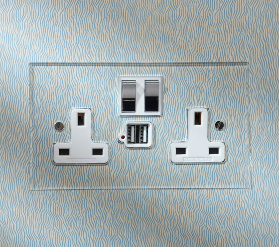 Nickel Silver double 13amp socket with USB by Forbes & Lomax