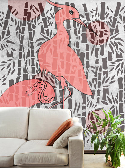 Herons with bamboo di WallPepper