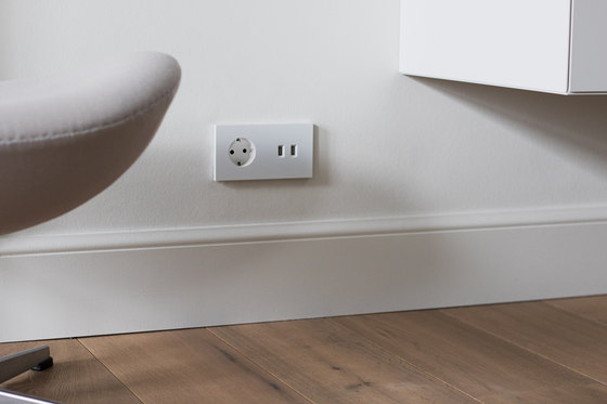 Power outlet - brushed dark grey - 2-gang by Basalte