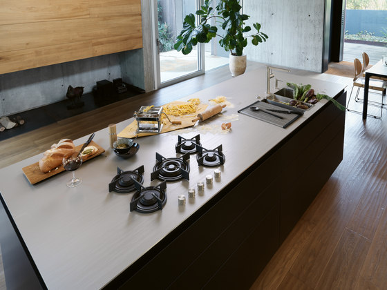 Customized Stainless Steel Worktop With Integrated Gas Hob by Franke Kitchen Systems
