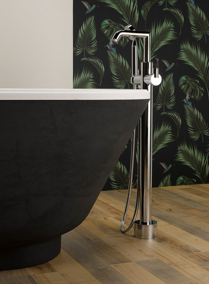 Bambou | Trim only for wall mounted 3-hole basin mixer by THG Paris