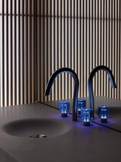 Beyond Crystal   Rim mounted 3-hole basin mixer by THG Paris