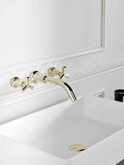 Les Ondes | Rim mounted 3-hole basin mixer by THG Paris