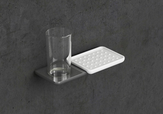 Liv Glass holder and storage dish by Bodenschatz