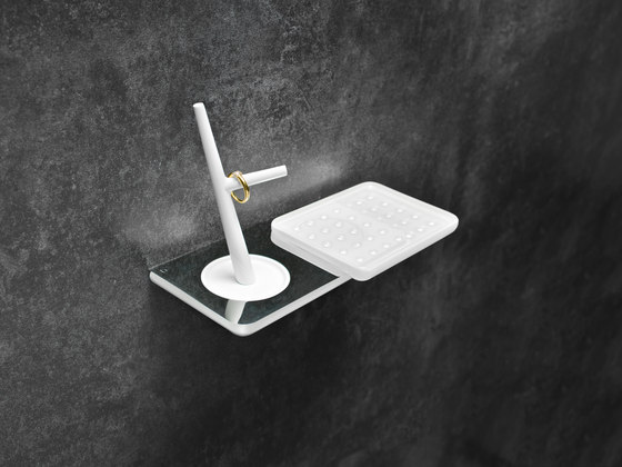 Liv Toilet paper holder with hygiene box and soap dish by Bodenschatz