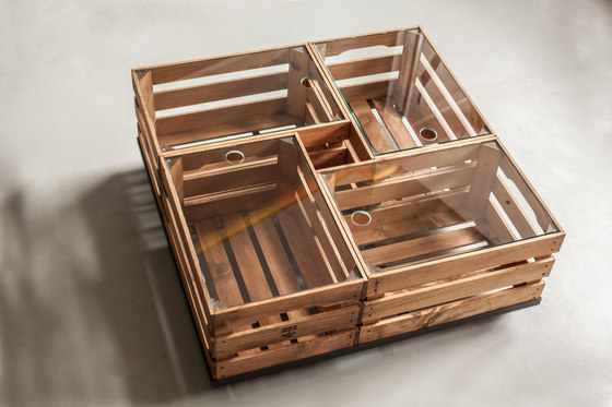 WOODEN CRATES GLASS TABLE ON WHEELS by Noodles Noodles & Noodles