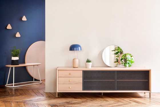 High sideboard Gabin, natural oak and slate grey by Hartô
