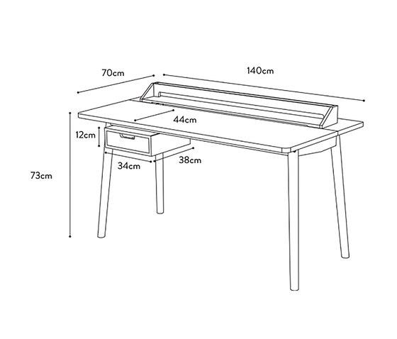 Desk Honore oak, white di Hartô