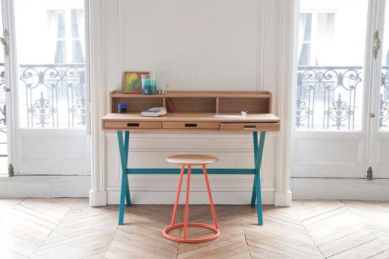 Secretary desk Hyppolite in walnut, petrol blue von Hartô