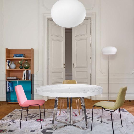 Ava | Dining Table White Marble-Effect Ceramic Stoneware + White Fenix Extension Black Chromed Base by Ligne Roset