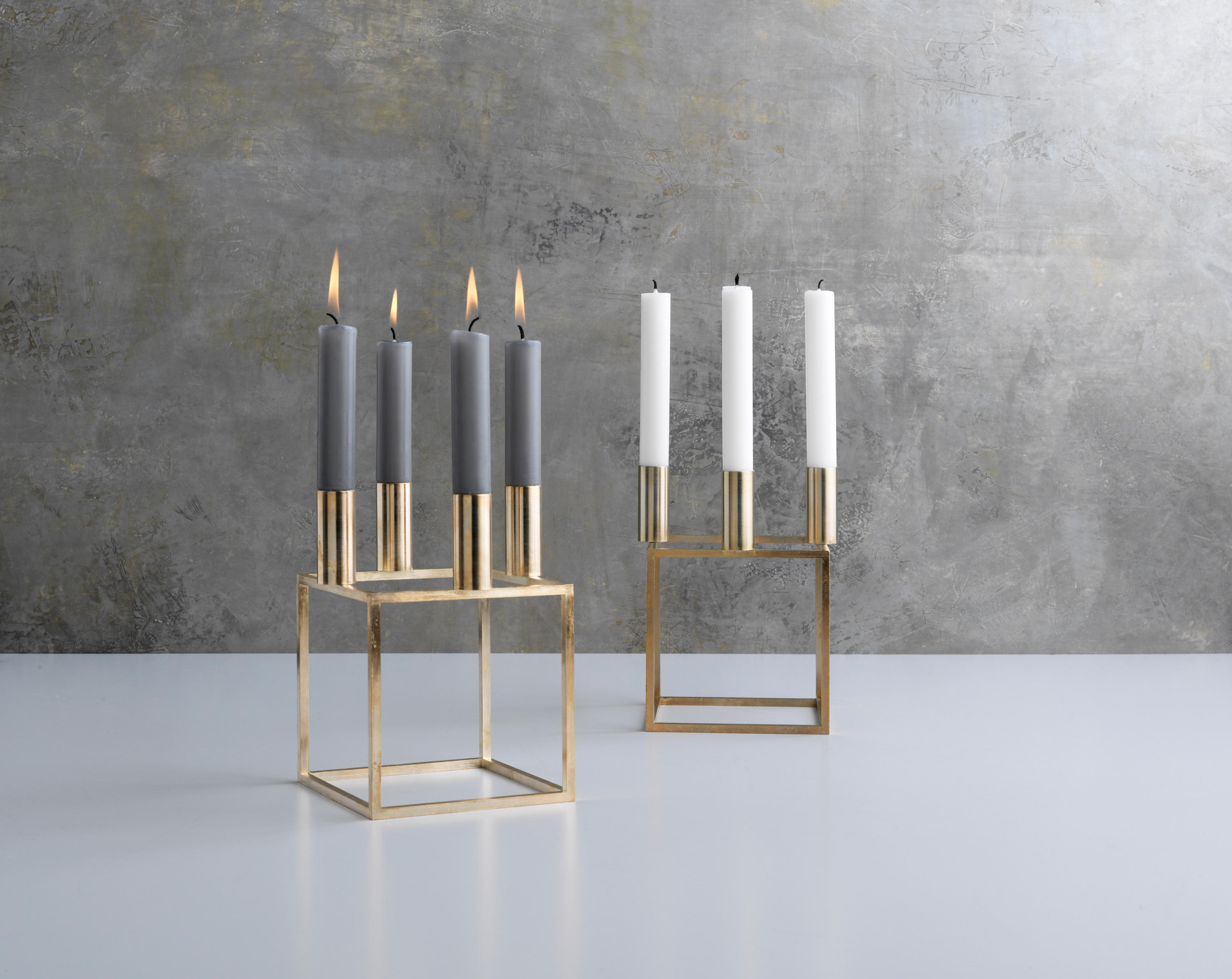 kubus 1 nickel candlesticks candleholder from by. Black Bedroom Furniture Sets. Home Design Ideas