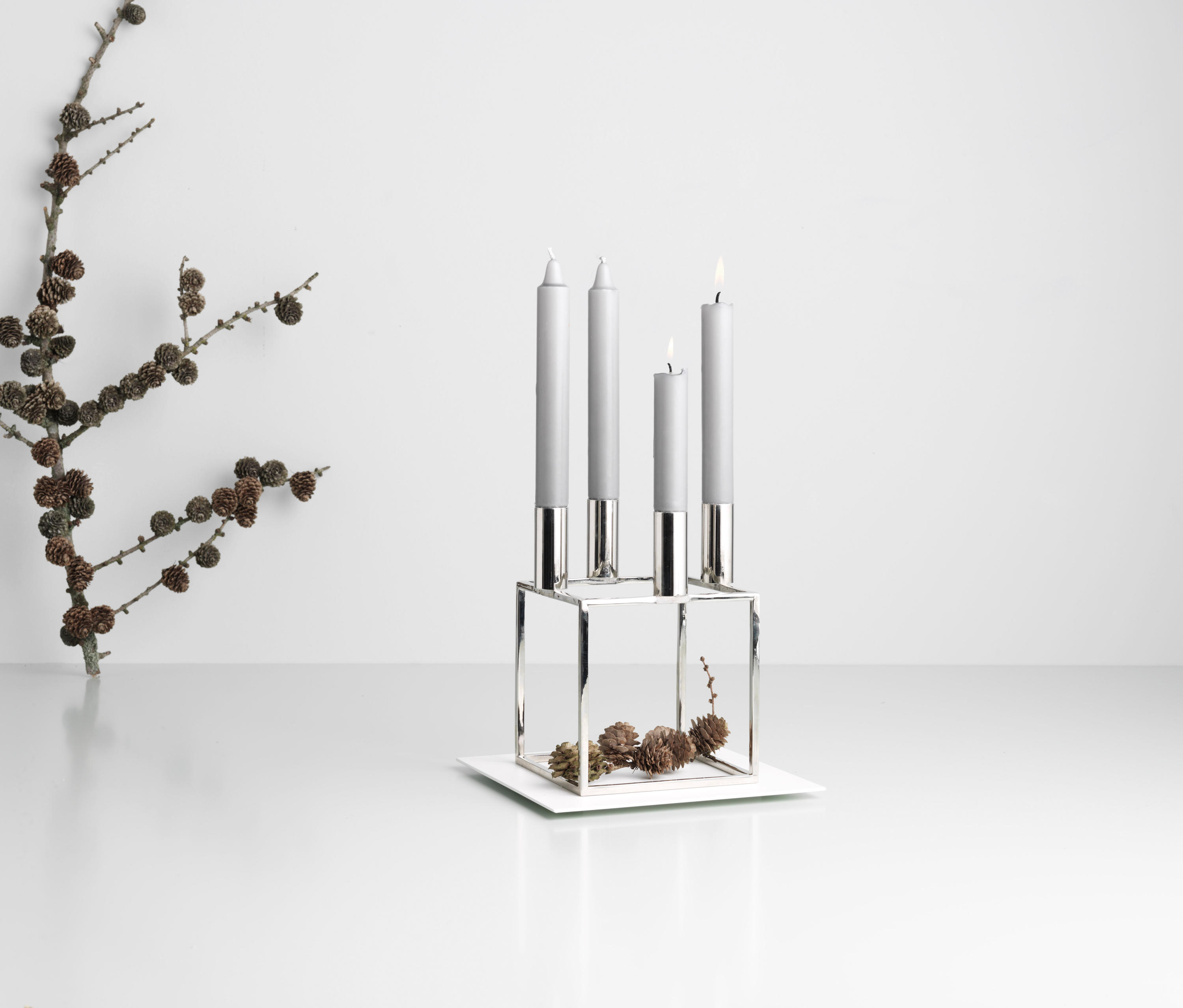 kubus 1 nickel candlesticks candleholder from by lassen architonic. Black Bedroom Furniture Sets. Home Design Ideas