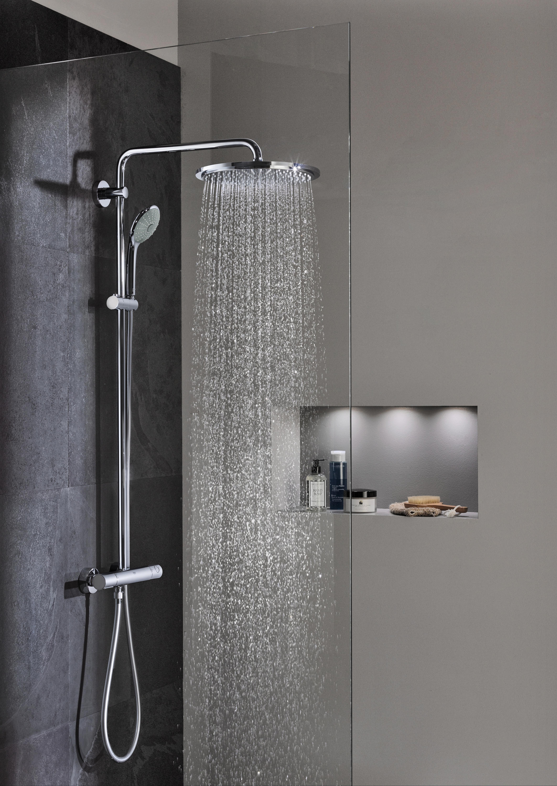 rainshower system smartcontrol 360 duo shower system with thermostat shower taps mixers from. Black Bedroom Furniture Sets. Home Design Ideas