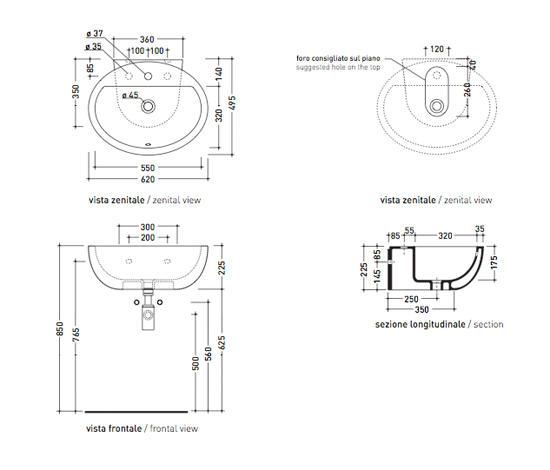 Dip lavabo lavabi lavandini ceramica flaminia architonic - Altezza lavabo bagno ...