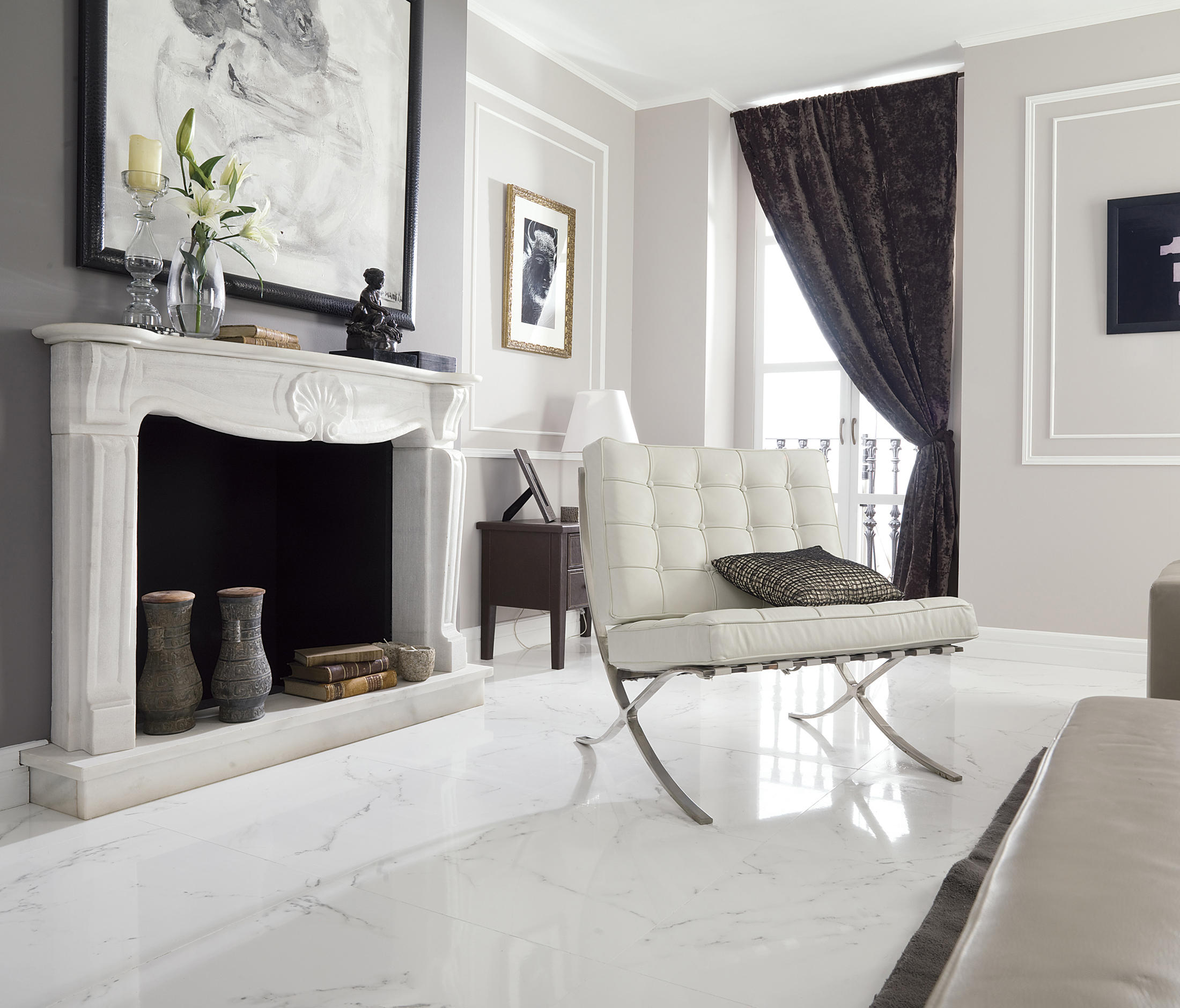 Carrara blanco brillo floor tiles from porcelanosa for Color del marmol de carrara