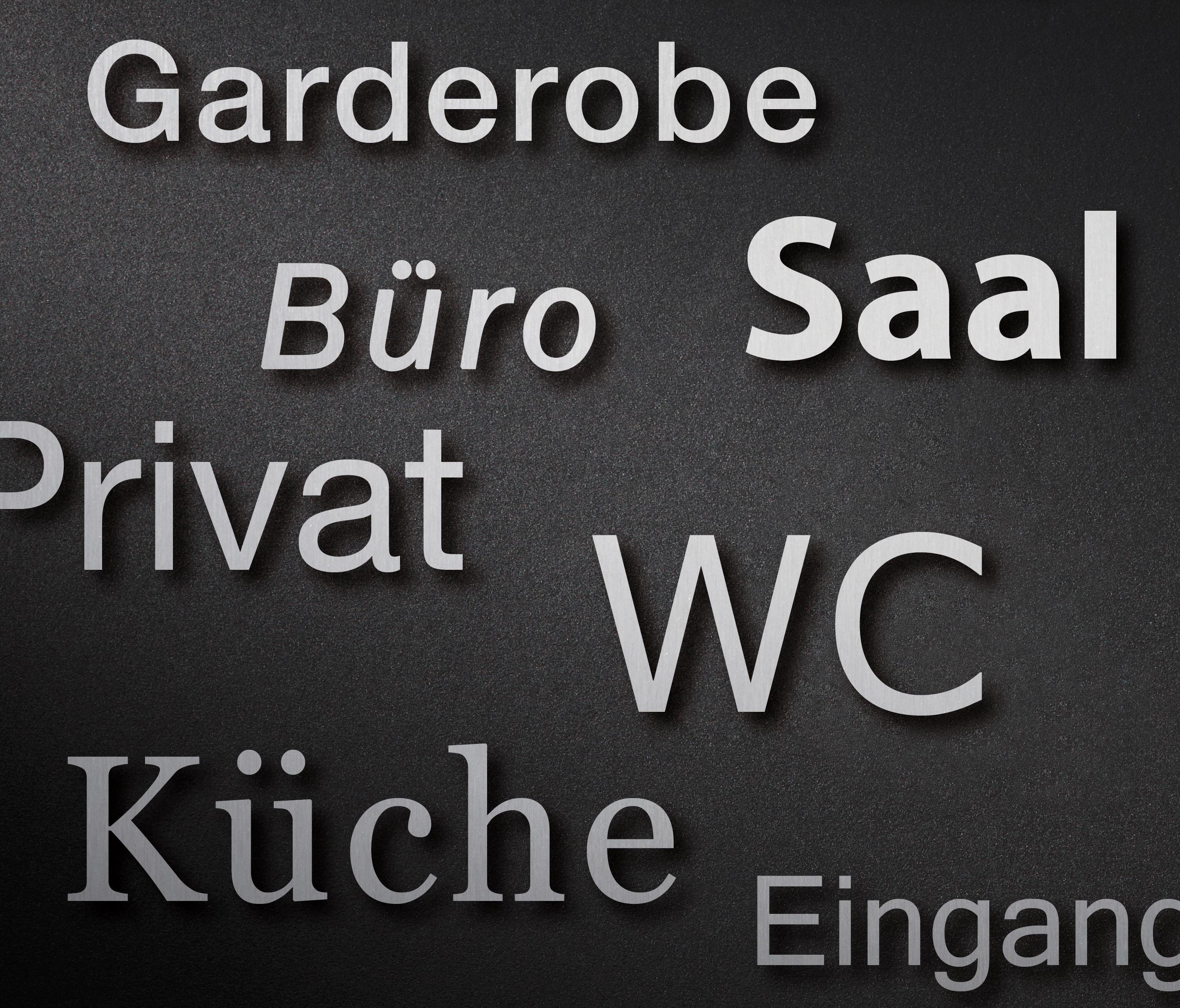 Beschriftung privat raumbezeichnungsschilder von phos for Design firmen deutschland