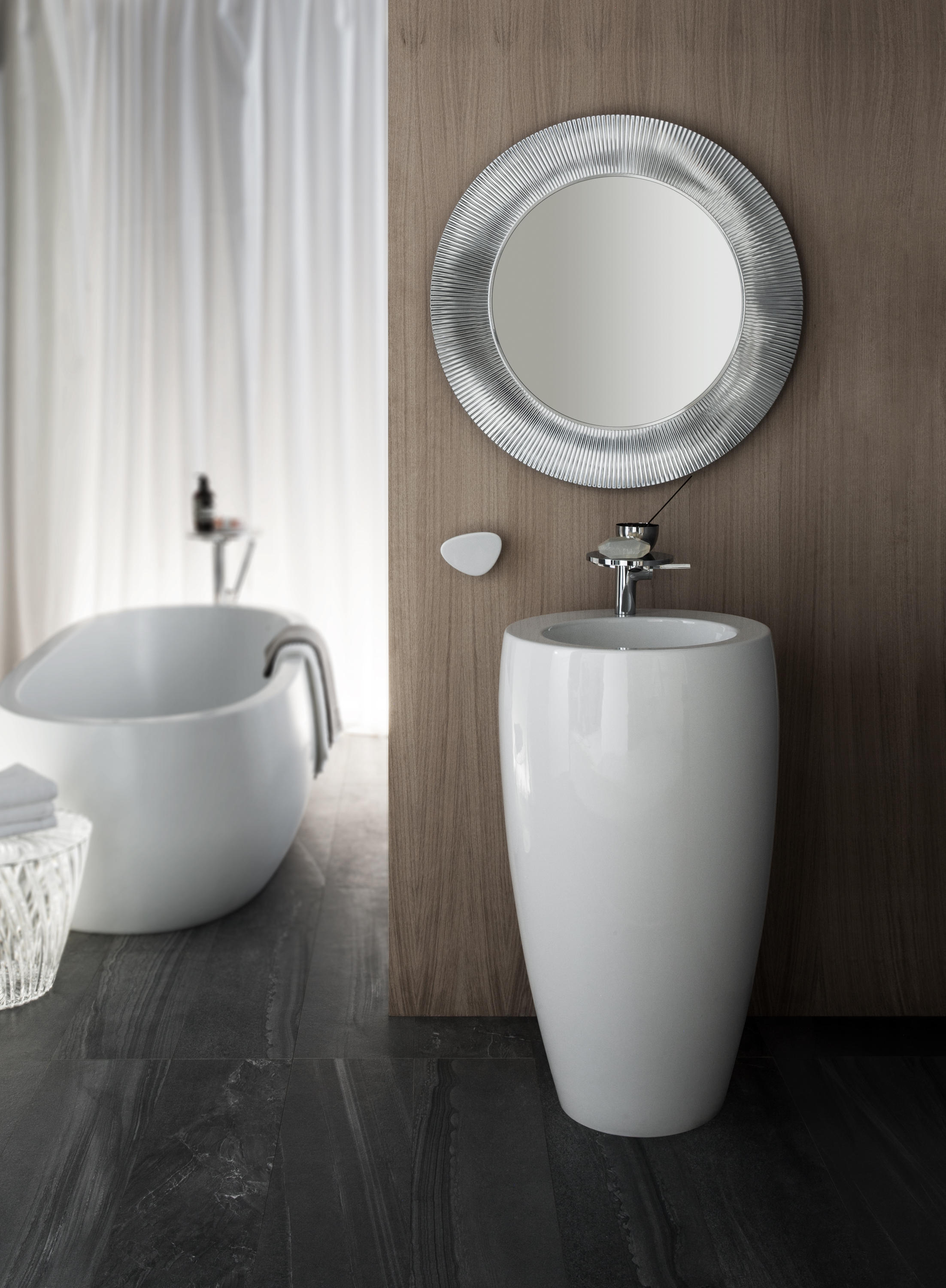 ilbagnoalessi one semi recessed washbasin lavabi. Black Bedroom Furniture Sets. Home Design Ideas