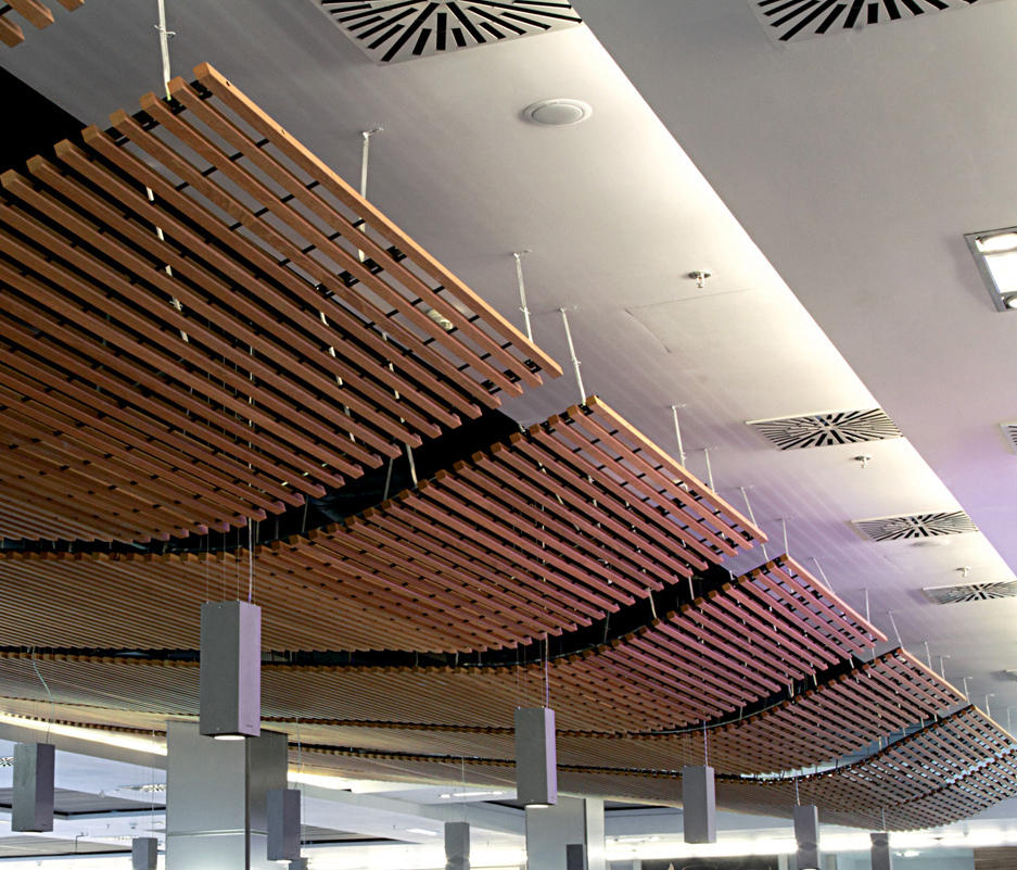 Wood Ceiling Panels ~ Wood grid ceiling suspended ceilings from hunter douglas