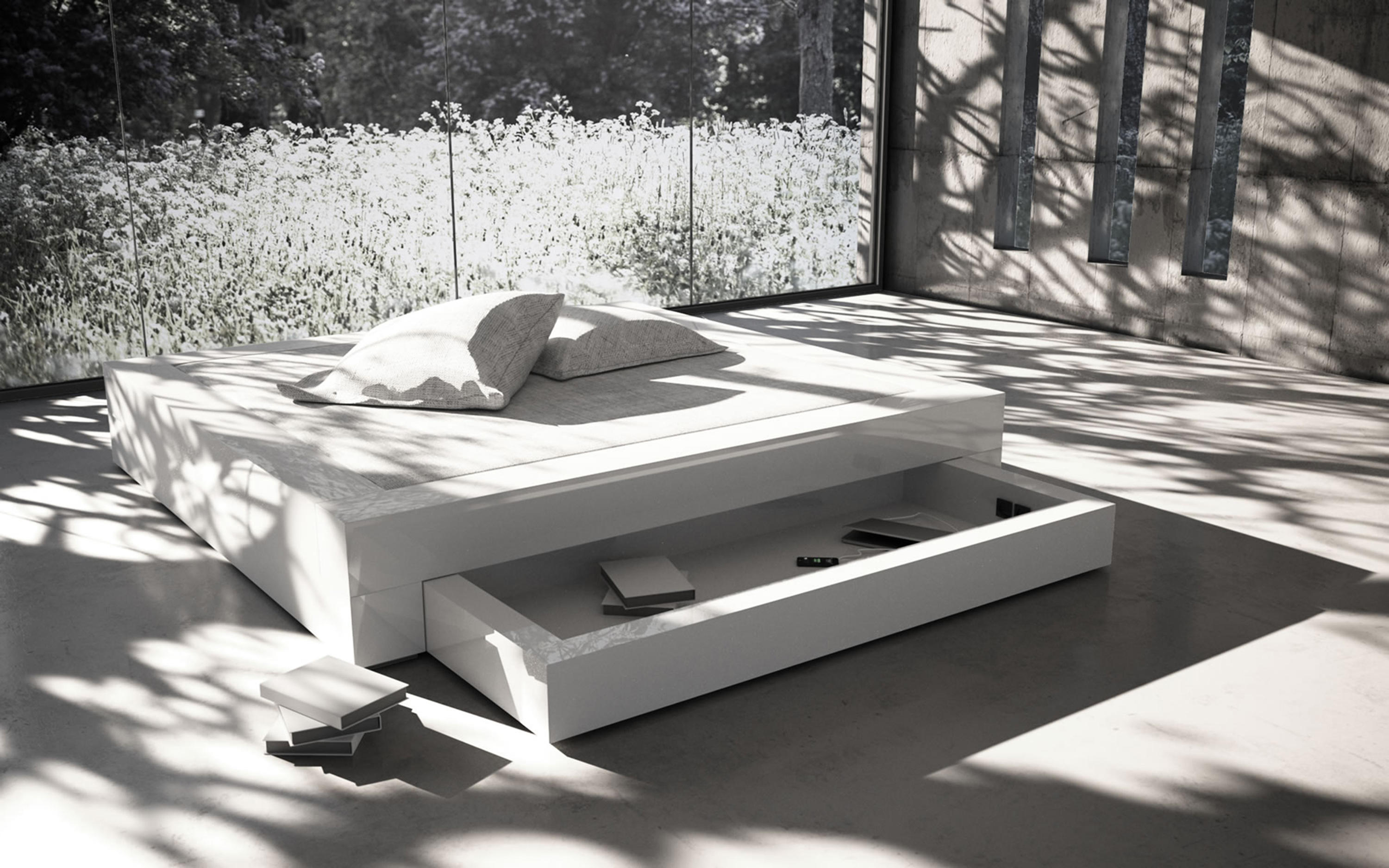 Somnium bed with bed drawer double beds from rechteck for Bett 120x200 bettkasten