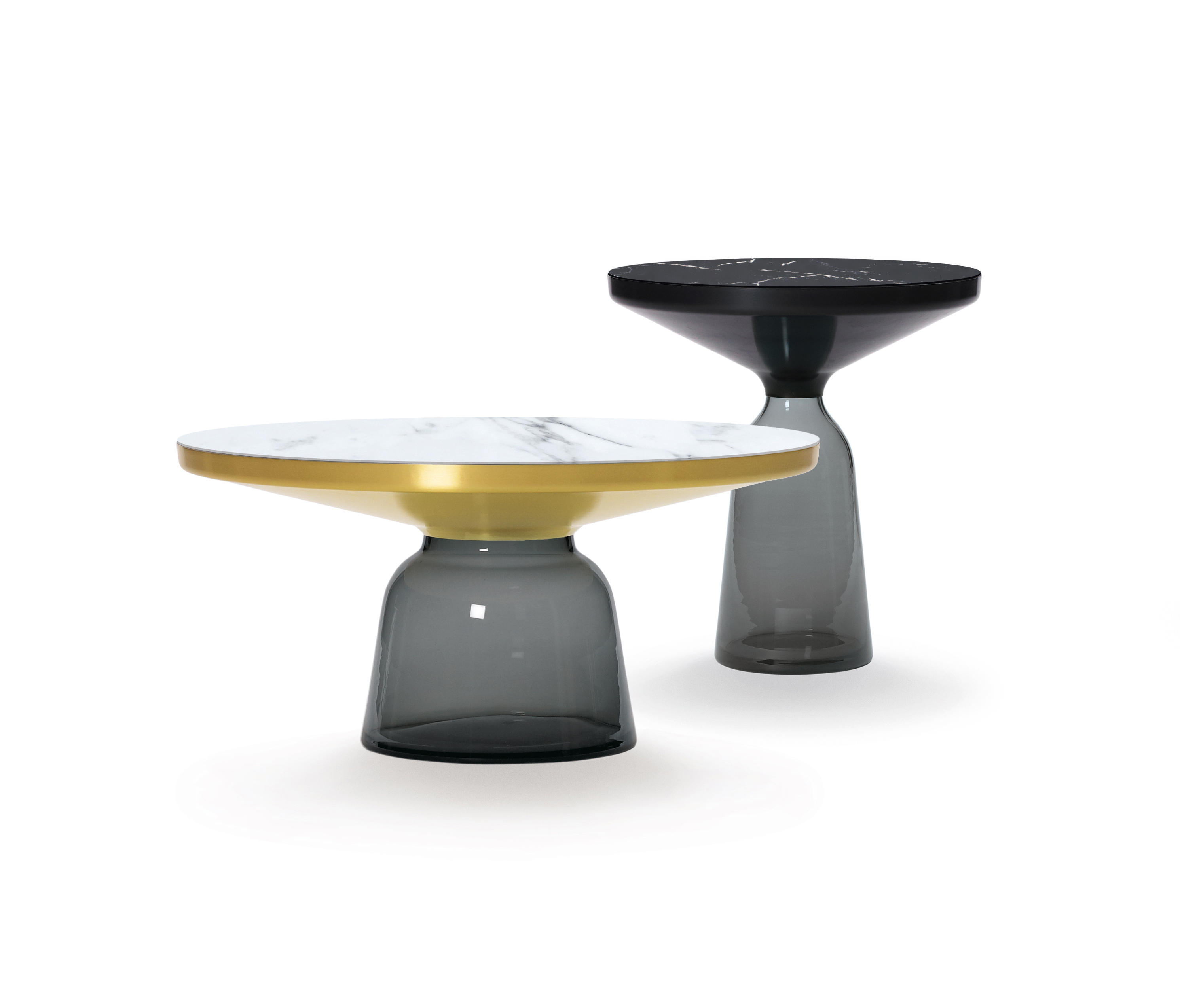 Yellow Marble Coffee Table: BELL COFFEE TABLE STEEL-GLASS-BLUE