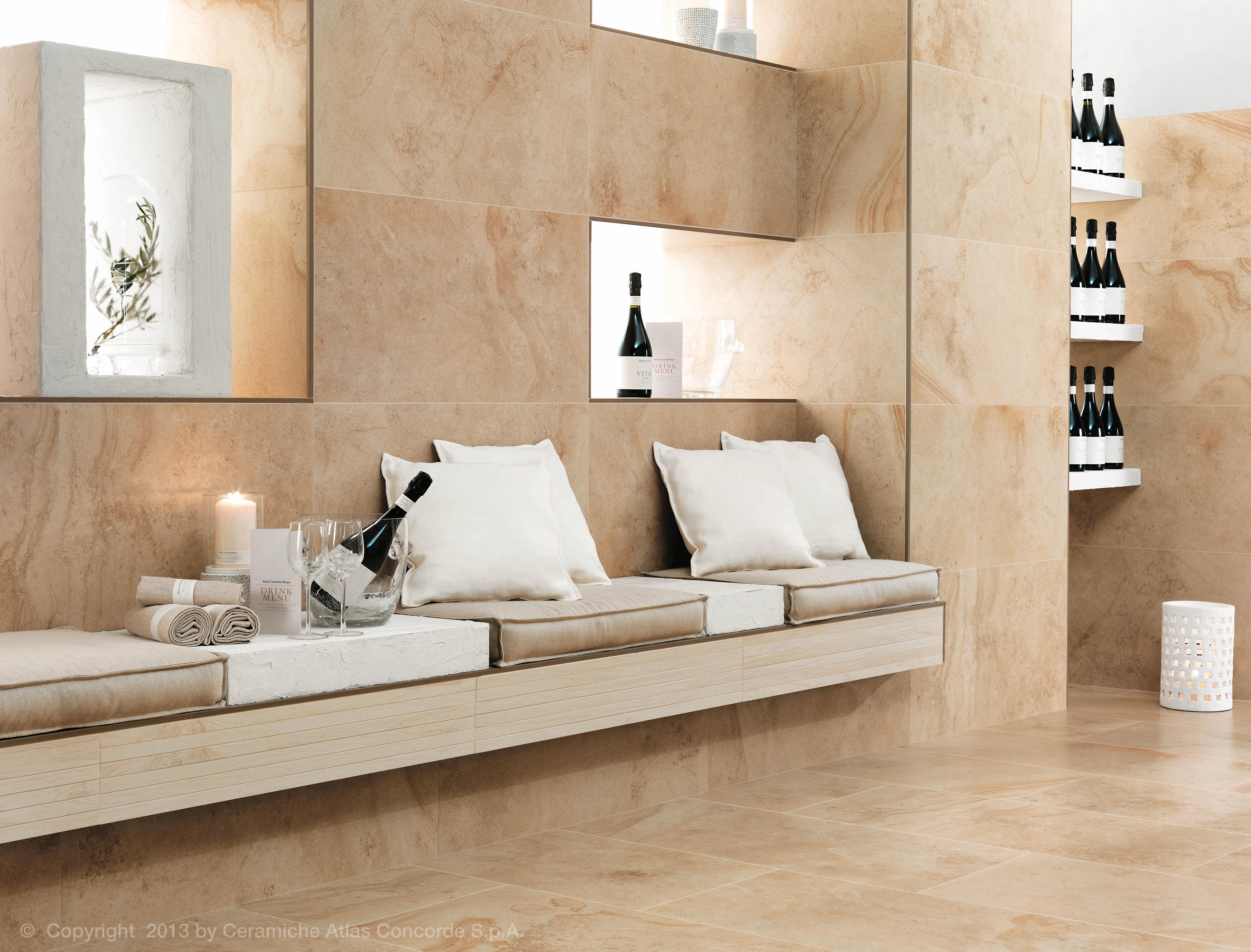 Sunrock travertino almond piastrelle ceramica atlas concorde