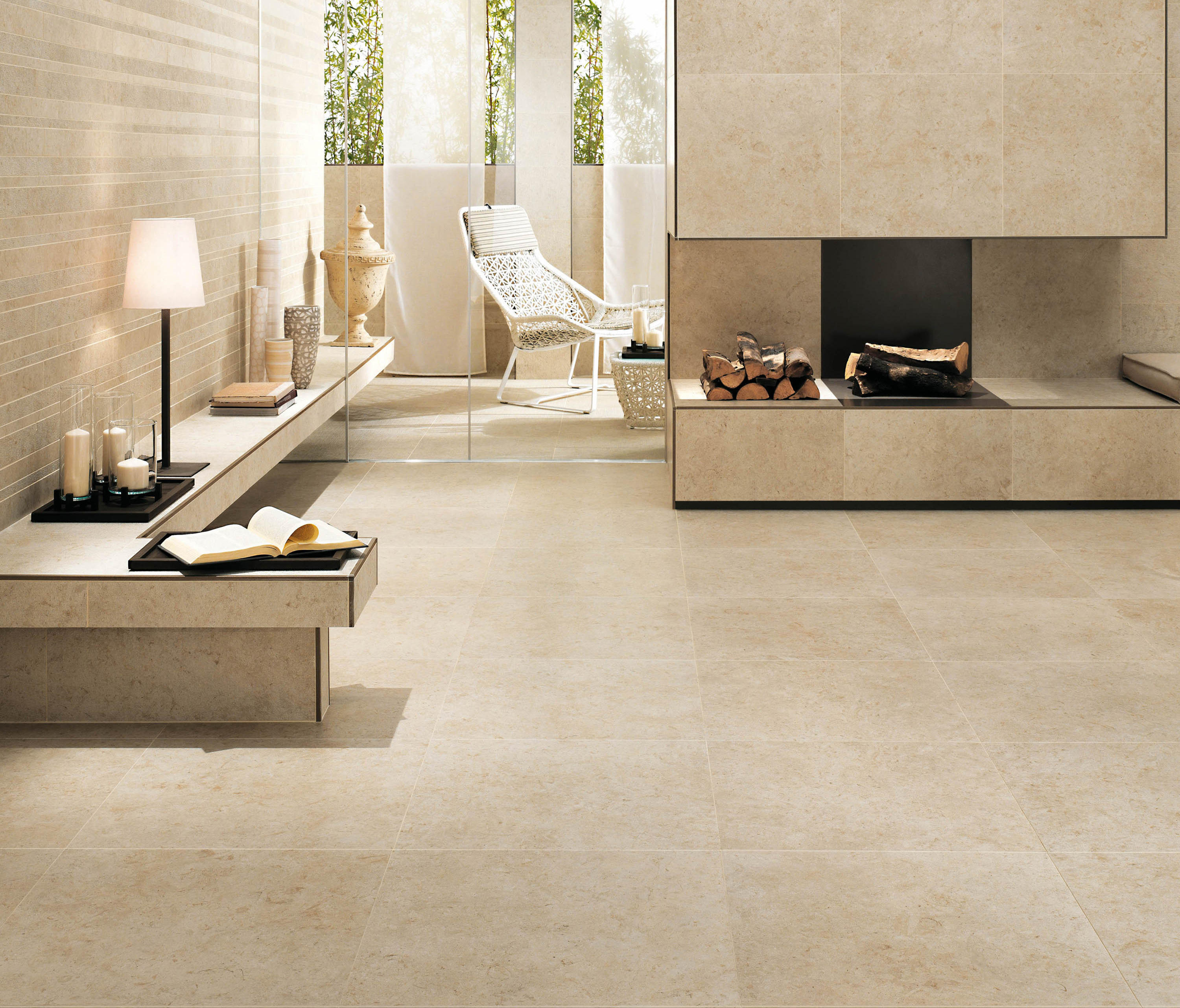 Sunrock travertino almond tiles from atlas concorde - Carrelage atlas concorde ...