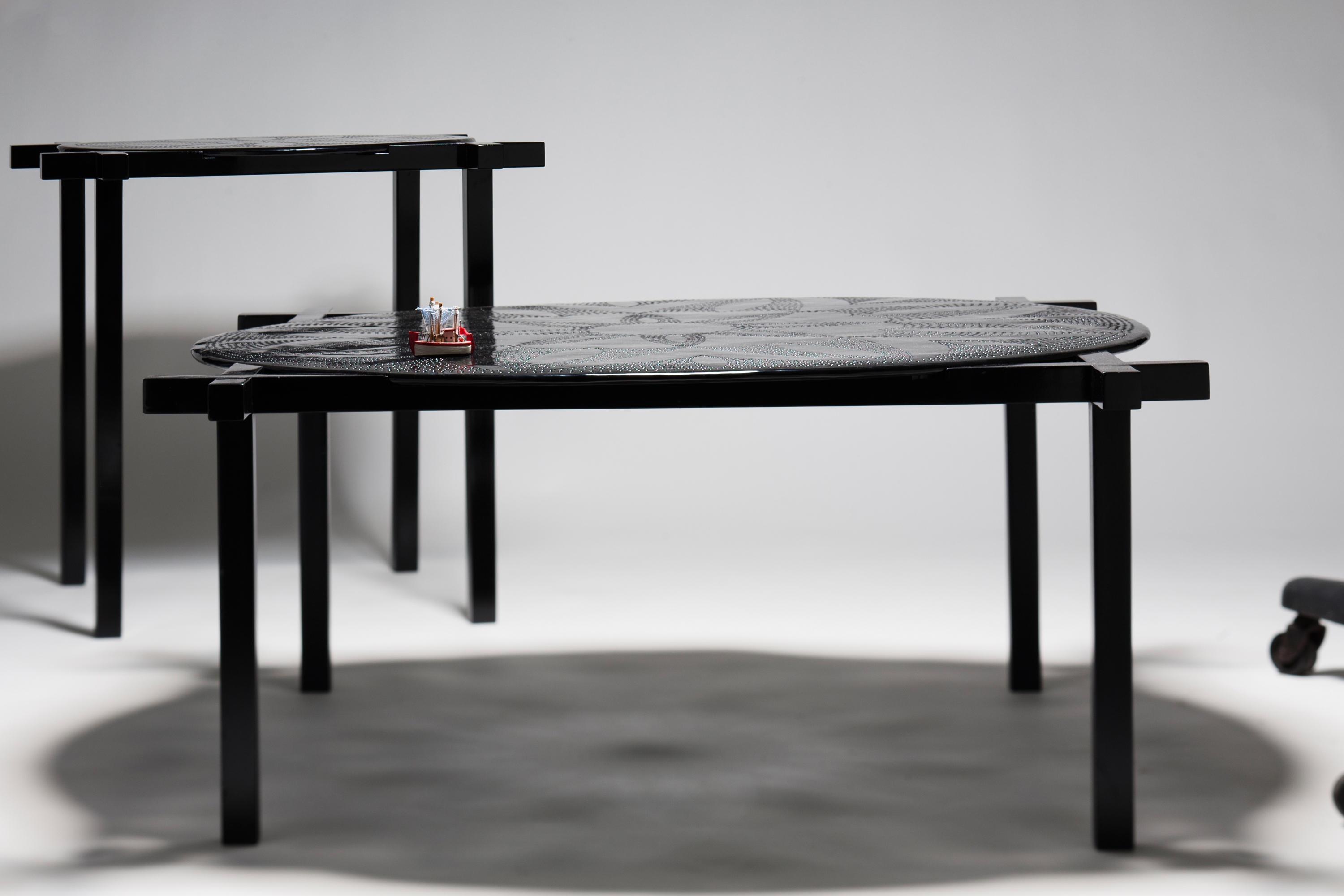 Cute Round and Square side and centre table by Karen Chekerdjian