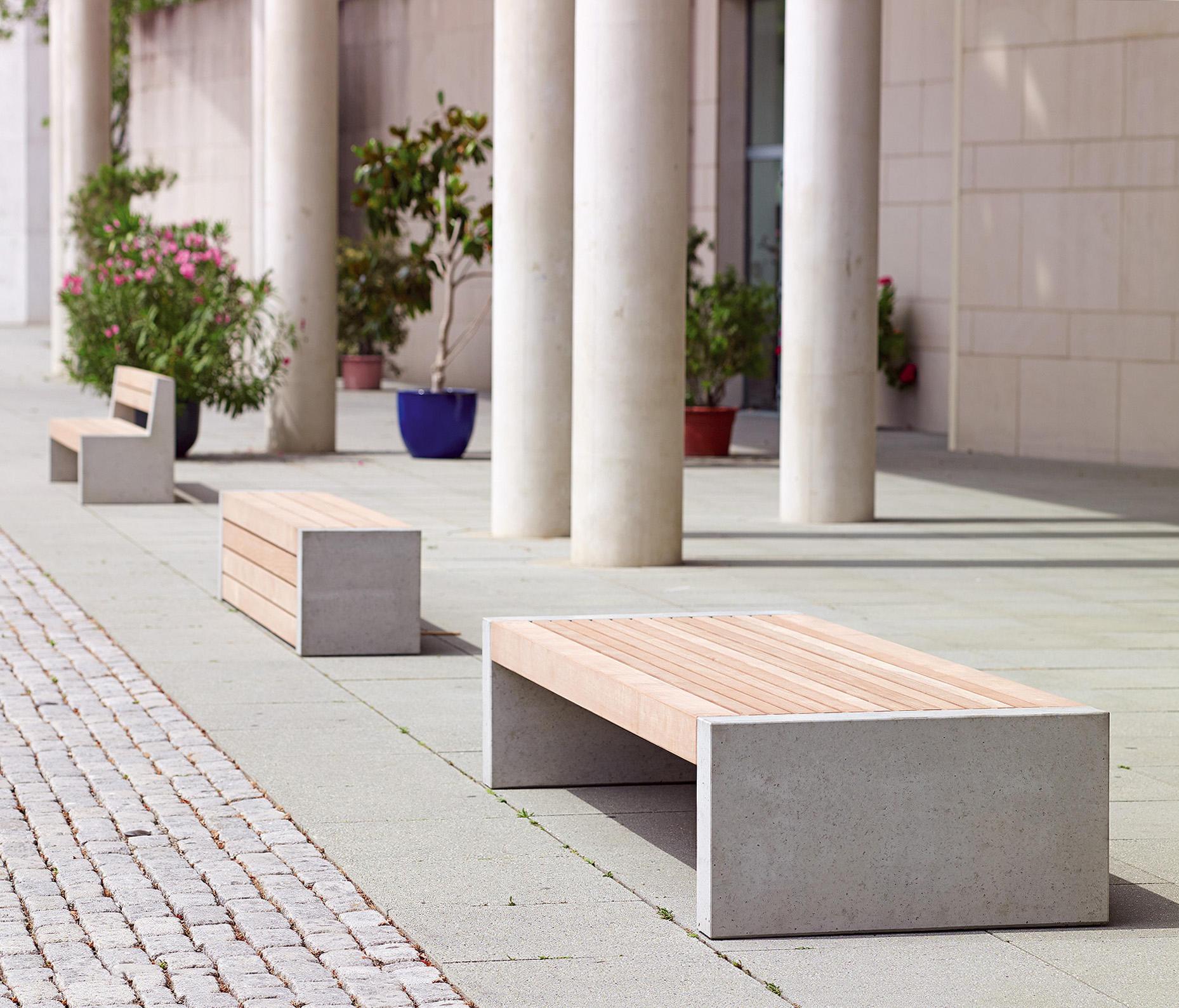 Versio Juno Bench With Slats LARGE Concrete Feet Light Grey By Westeifel  Werke