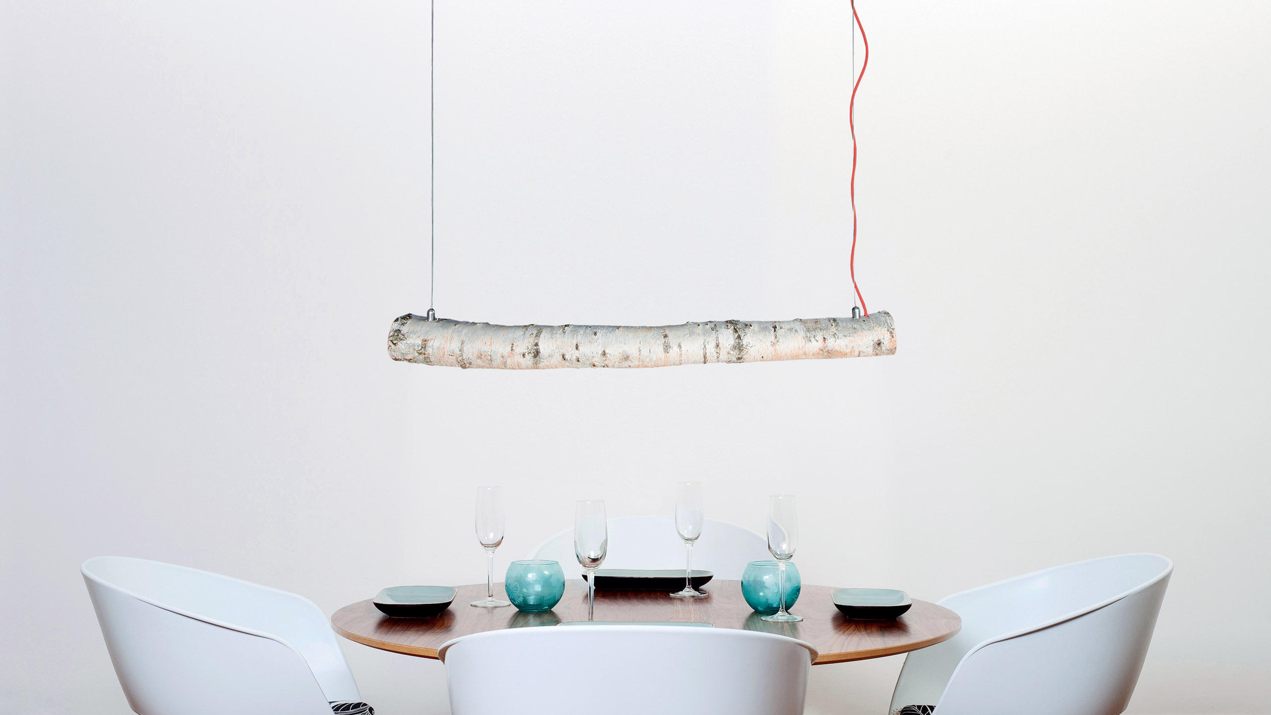 trunk suspended lamp general lighting from trentino wood