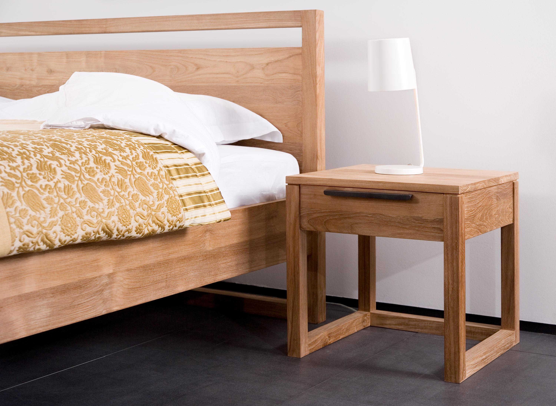 teak light frame bed by ethnicraft