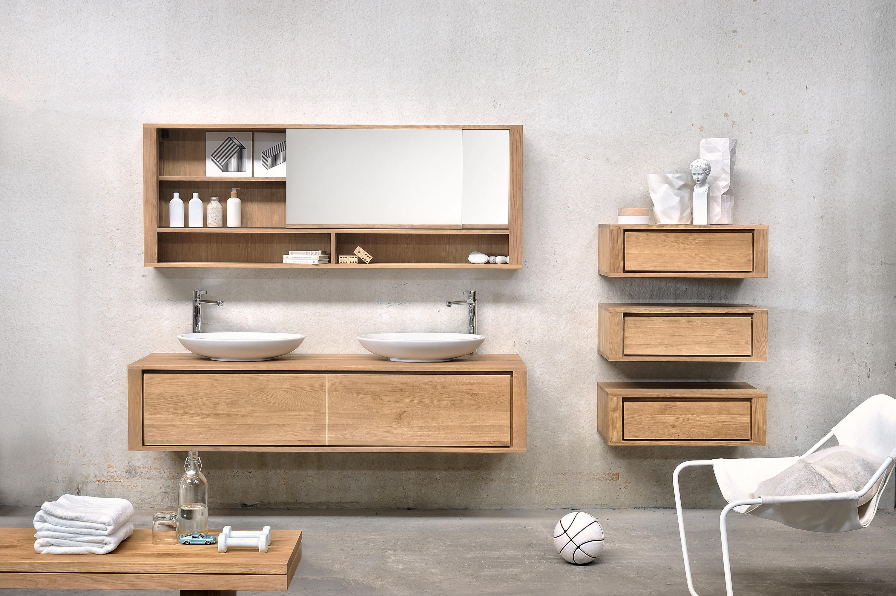 Shadow wall mounted base unit vanity units from for Meuble mural toilette