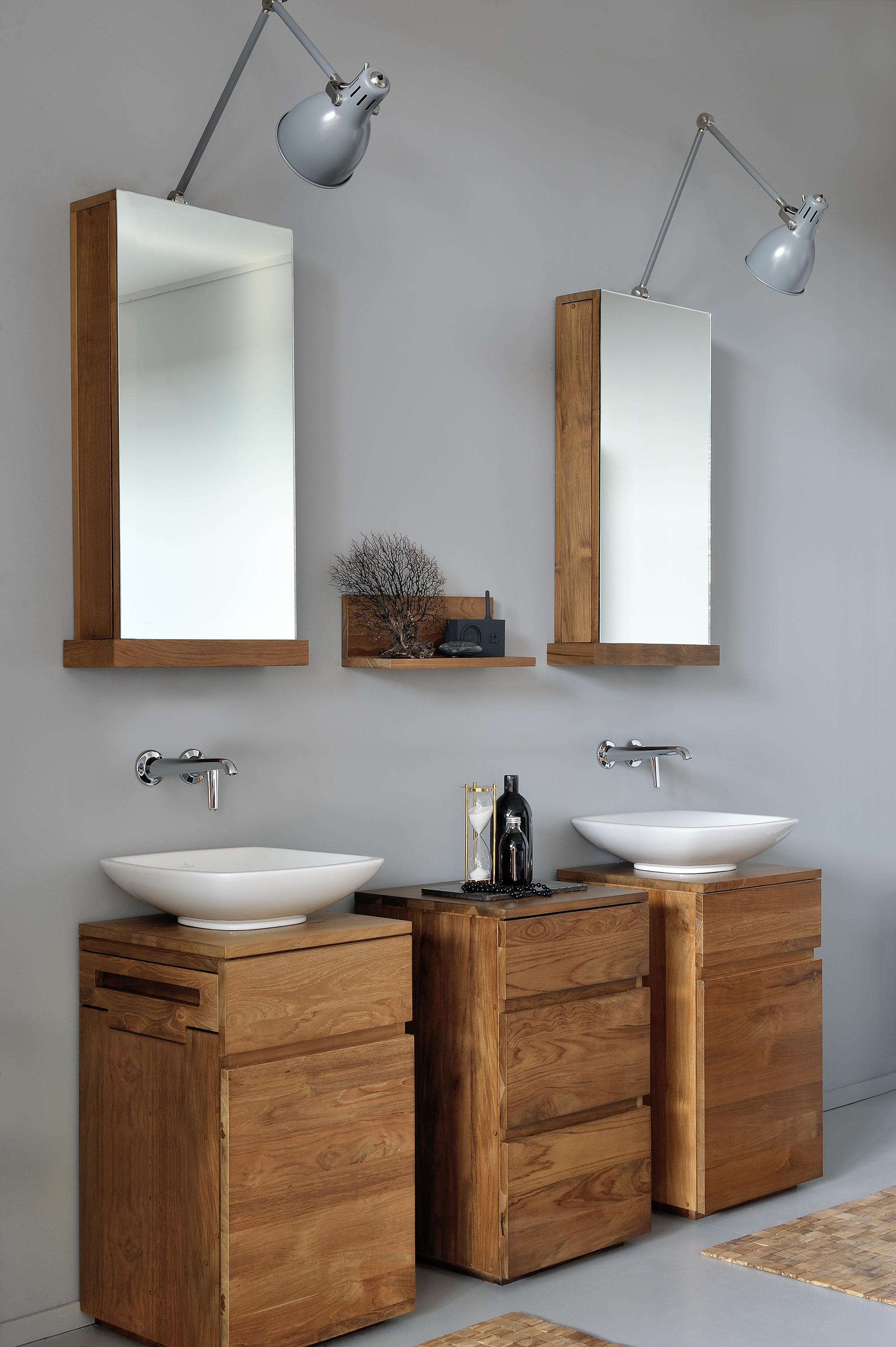 Square mirror cabinet mirror cabinets from ethnicraft for Meuble toilette