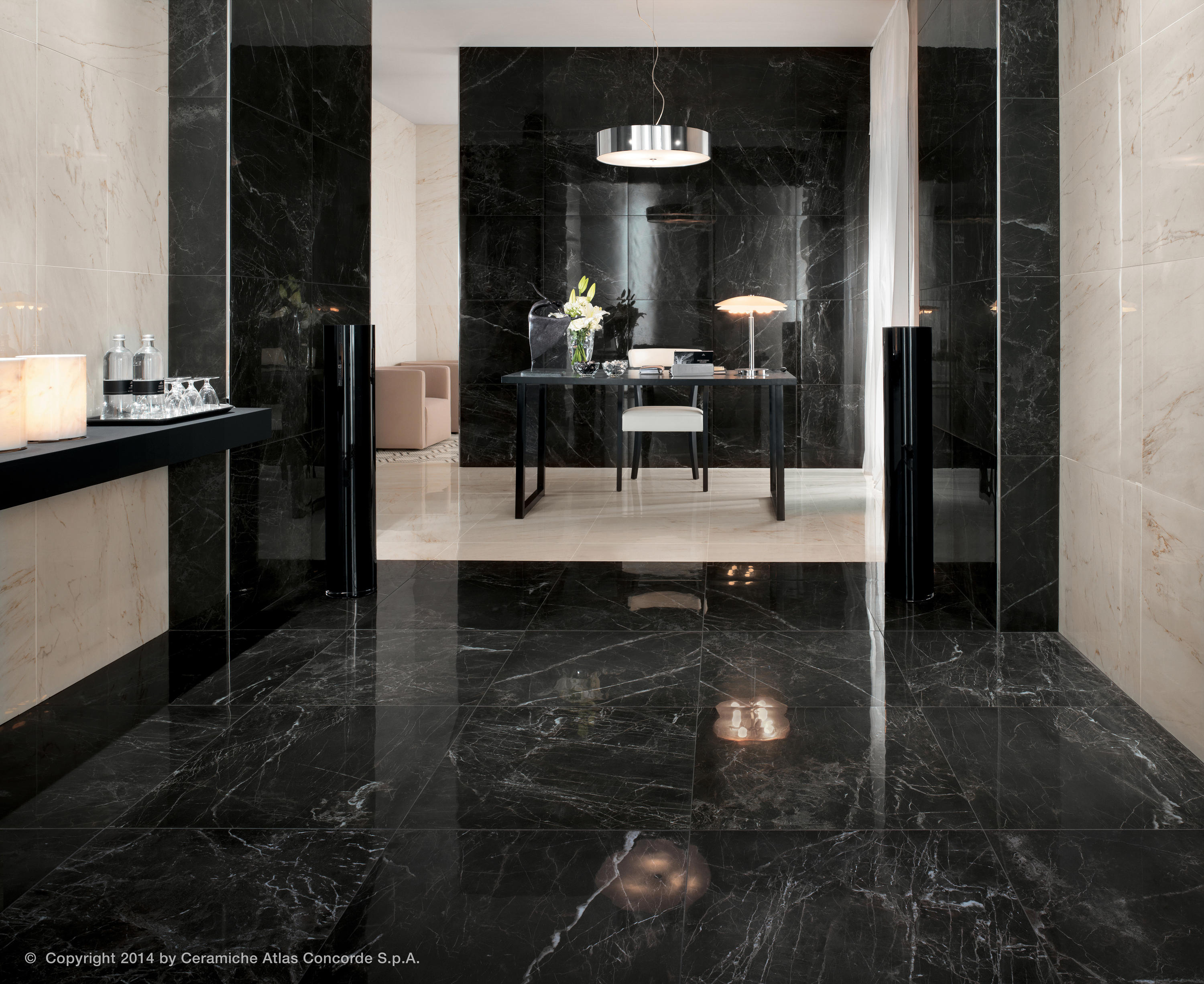 Marvel pro statuario select ribbon ceramic tiles from for Carrelage noir brillant pour sol