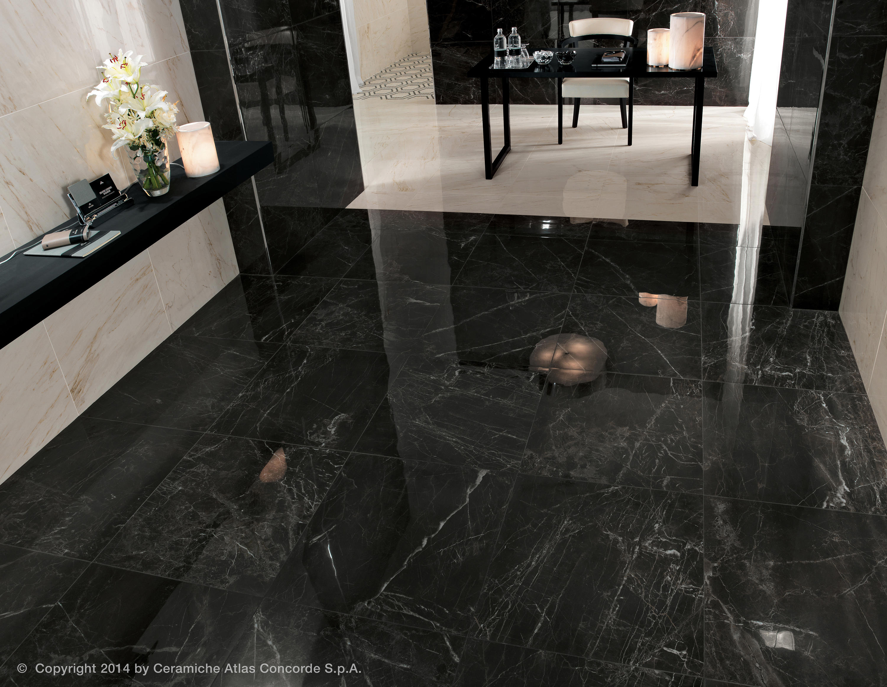 Marvel pro statuario select ribbon ceramic tiles from for Carrelage en marbre noir
