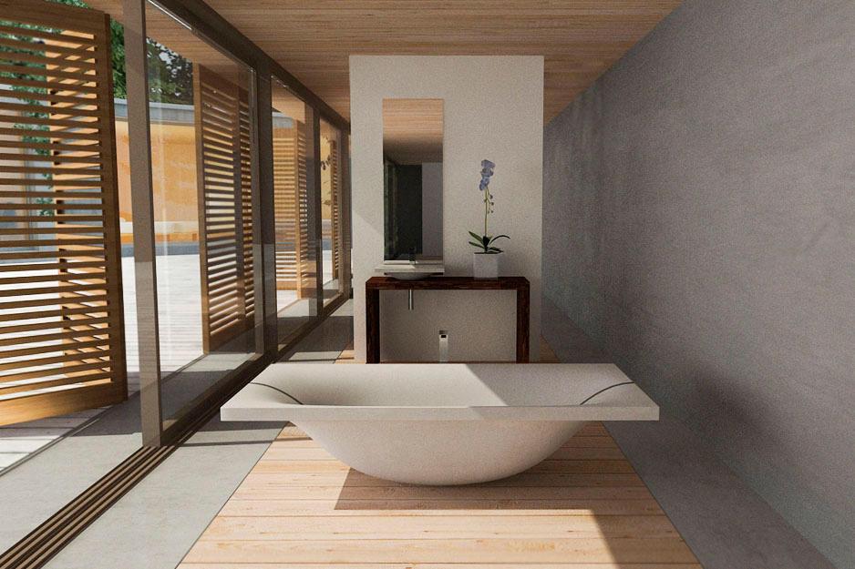 Wave bathtub by dade design ag concrete works beton