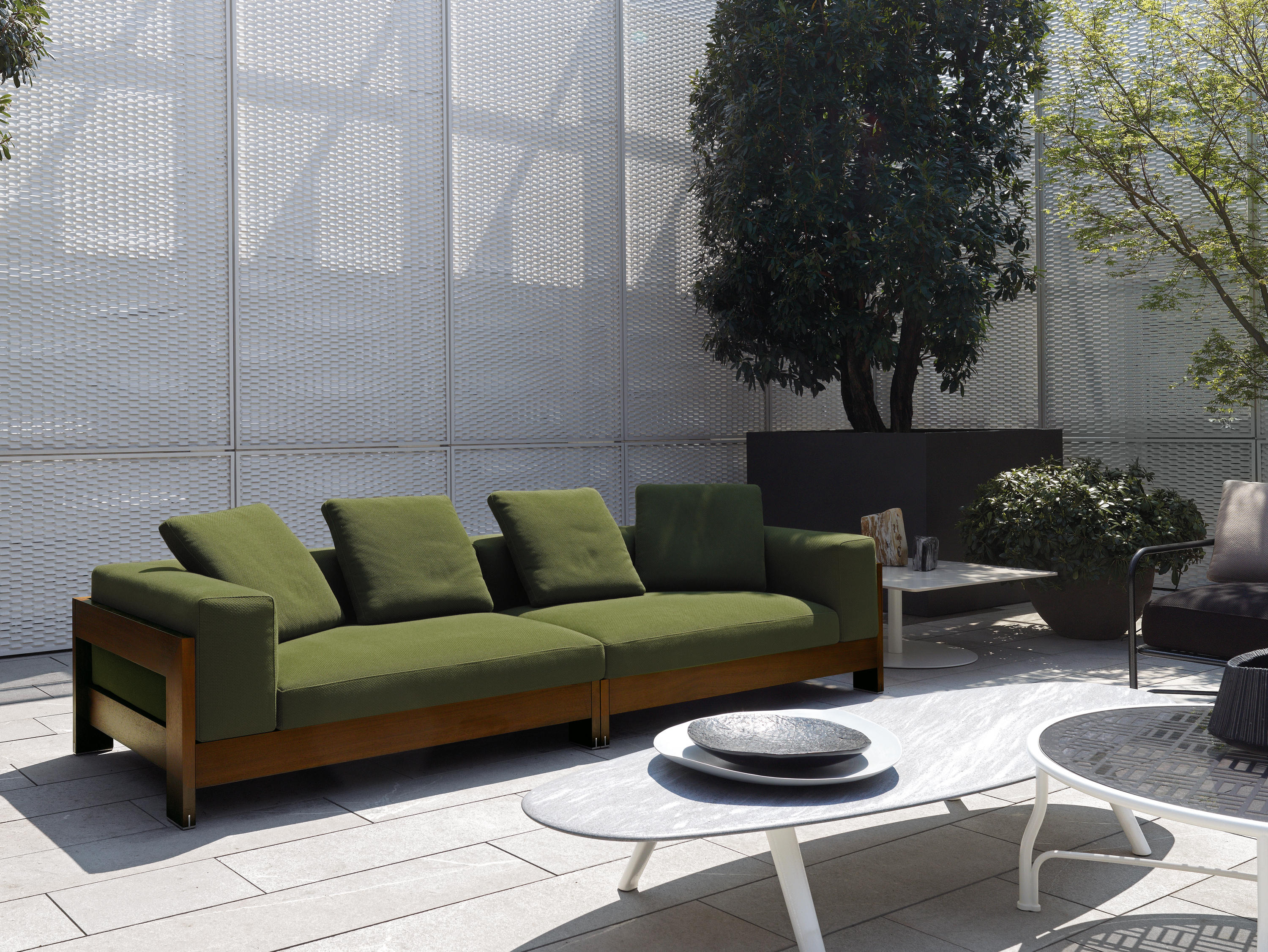 alison dark brown outdoor garden sofas from minotti