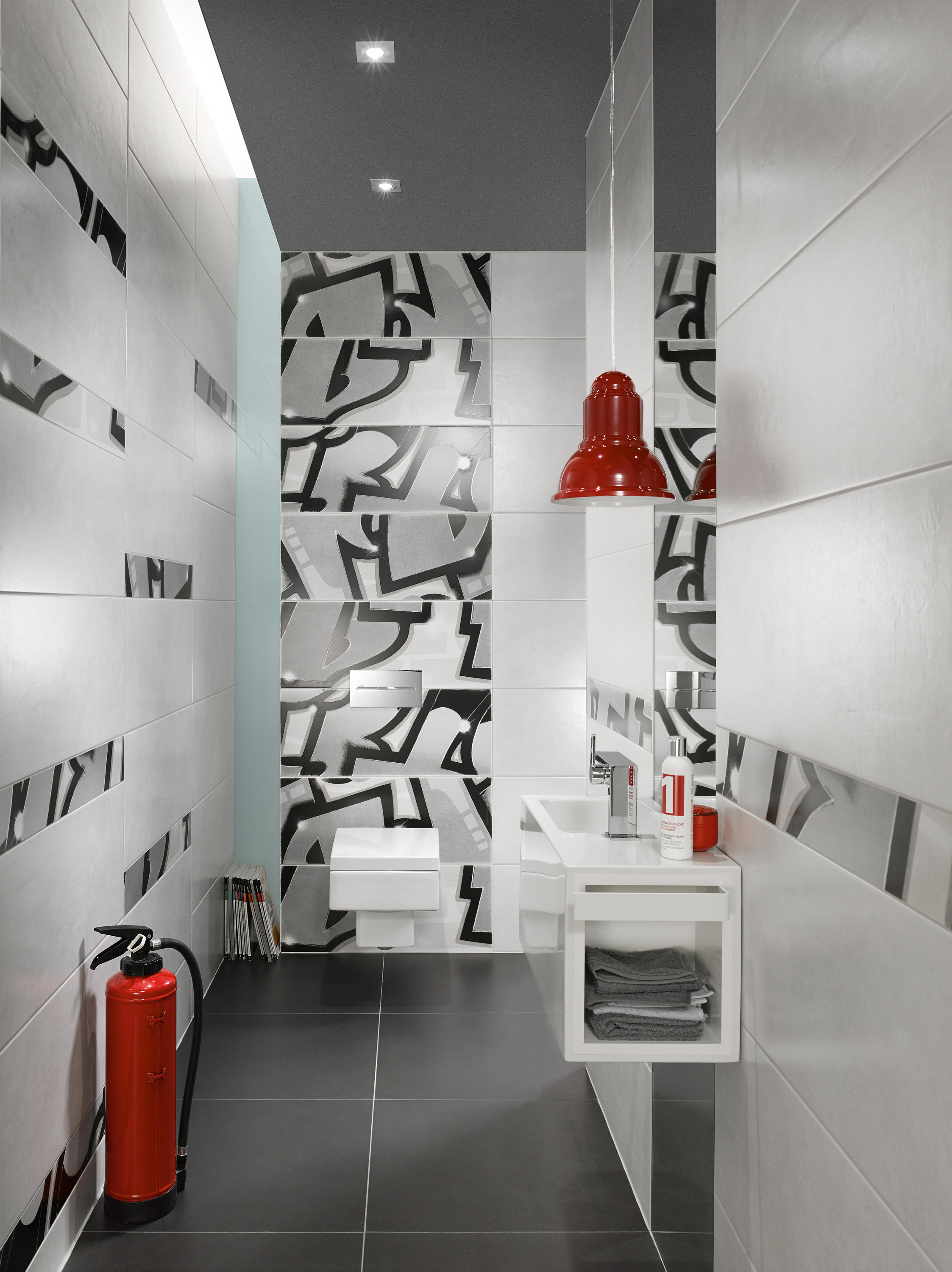 Graffiti Petrol Orange Ceramic Tiles From Steuler Design