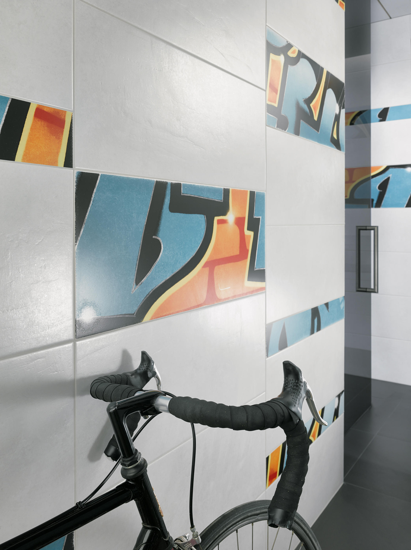 Graffiti wall tiles -  Graffiti Petrol Orange By Steuler Design
