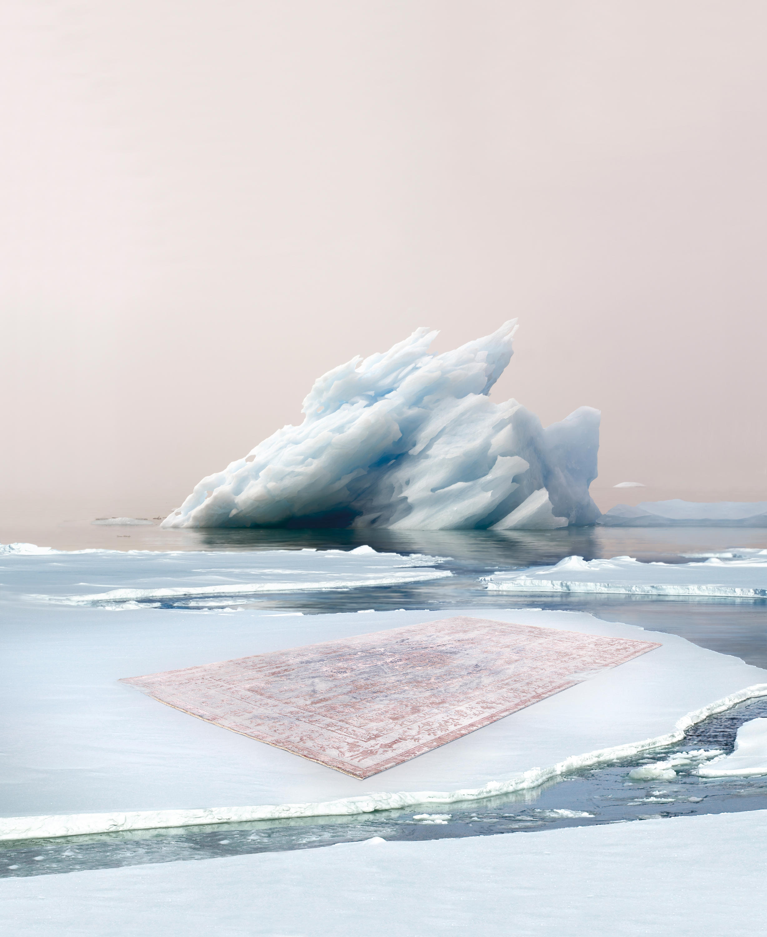 Immersive Iceberg Structures Blue Pink Rugs From