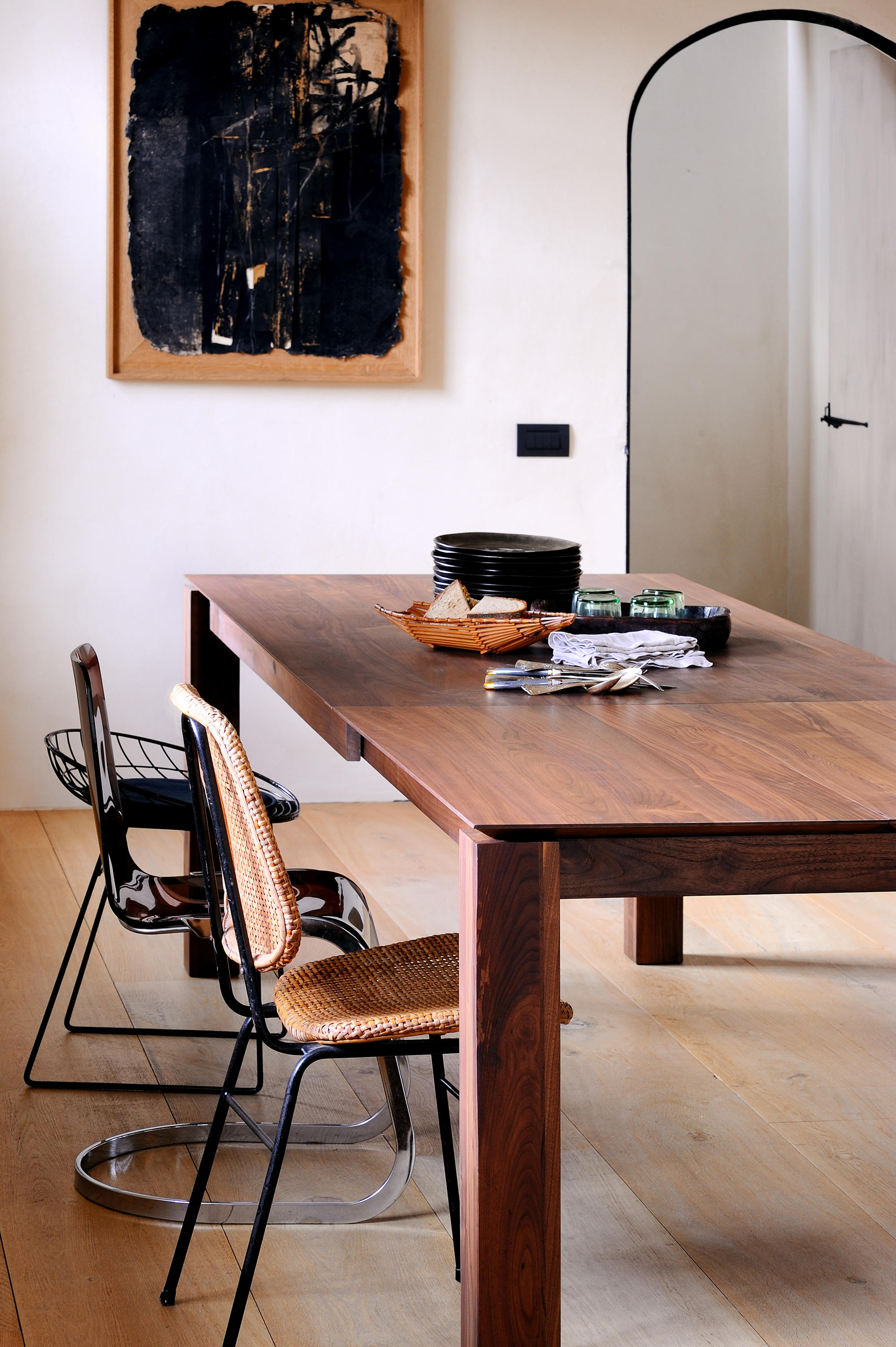Images Dambiances Walnut Slice Extendable Dining Table