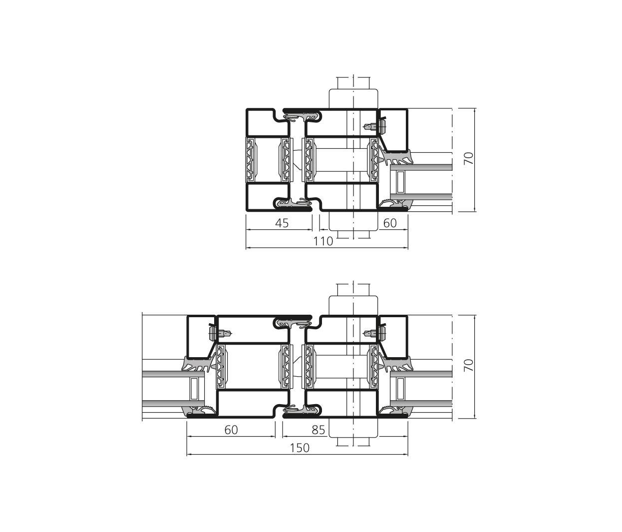 Forster unico porte coulissante levier portes d - Porte coulissante plan ...